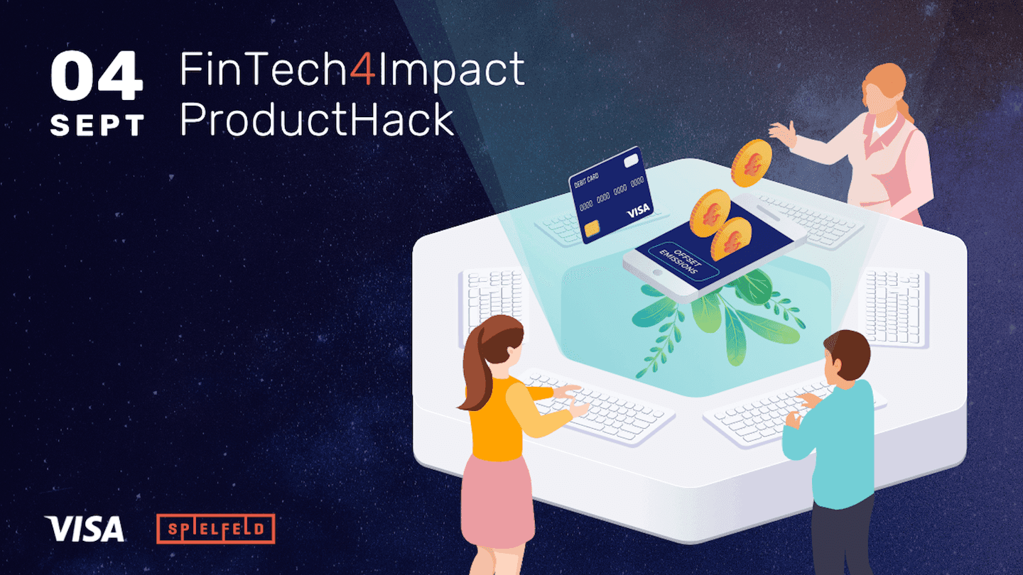 On the FinTech for Impact Challenge key visual you can see three people working and hacking on a sustainable fintech solution towards reaching the 17 UN SDG's.