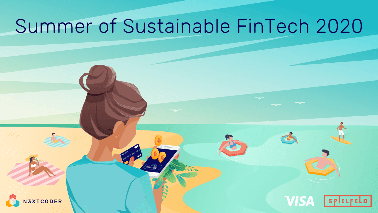 On the key visual you find a women looking for the most innovative FinTech solution . The beach in the background stands for the summer of sustainable FinTech Meetups which are held remotely on the Nextcoder Website. Thus, you can  basically participate from anywhere where you have a internet connection.