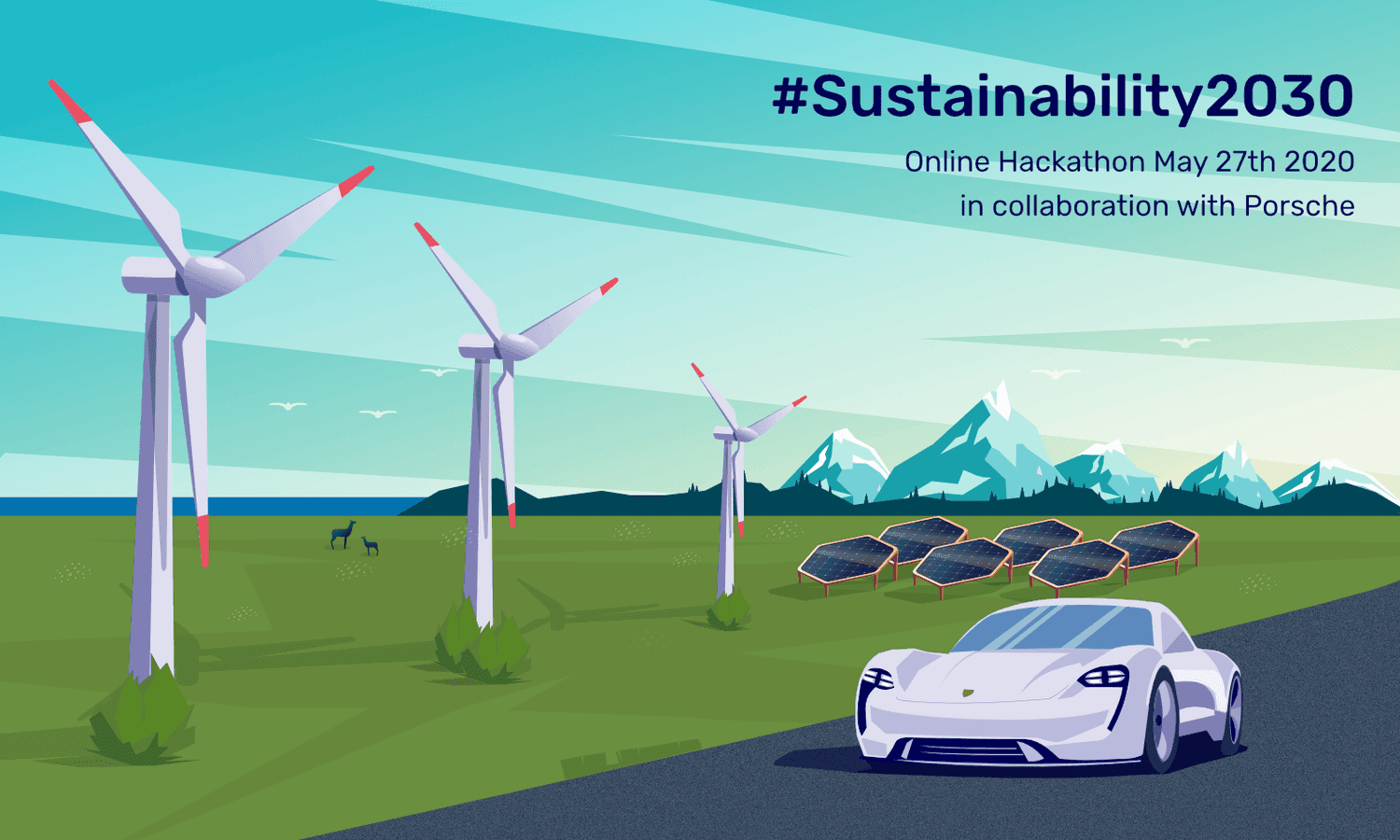 Illustration with wind turbines, mountains, nature and Porsche Taycan