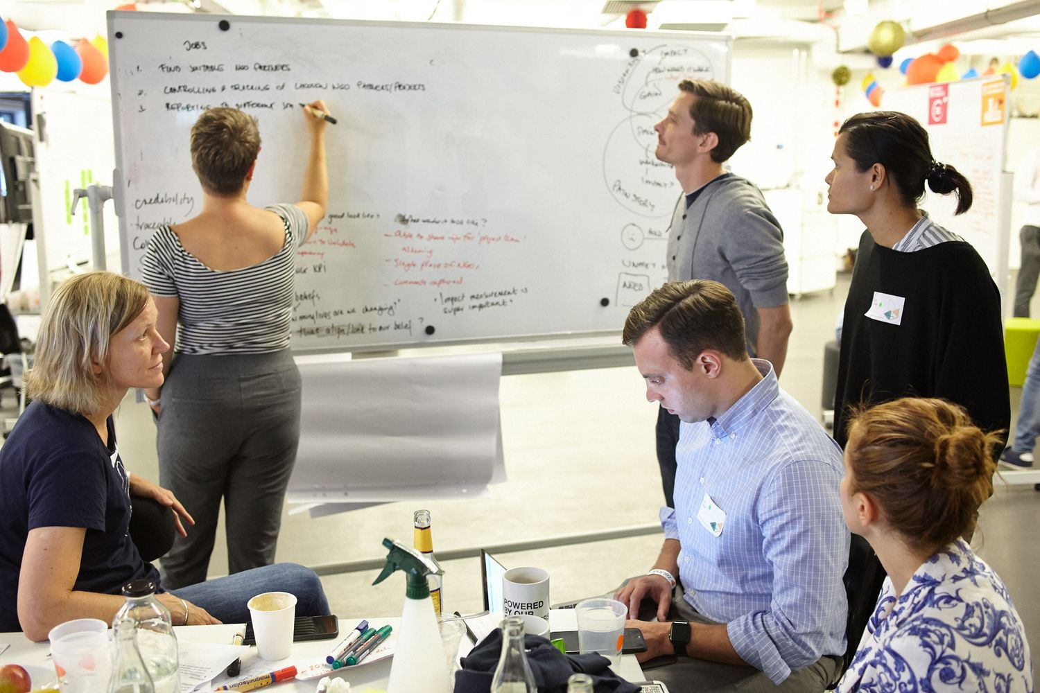 team working together at a whiteboard